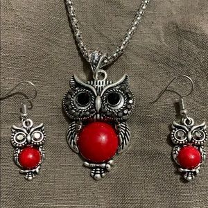 ❤️Red Owl Necklace Earring Set❤️
